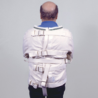 The back view of a straitjacket